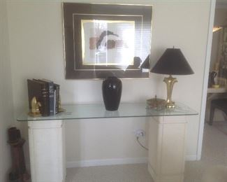 """Sofa table...two pillars and glass top.  Measures 65"""" L x 18"""" deep x 30"""" T.  Presale $85.   Picture measures 36 x 30 .  Presale  $45"""