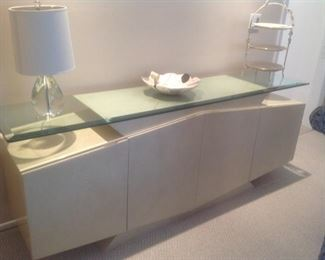 """Matching buffet measures 79.5 l x 18"""" d x 31"""" t.  Glass top .  Presale $195.    Could be great bathroom vanity"""