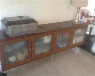 """Console/cabinet with frosted glass doors.  Measures 76"""" long x 30"""" t x 16"""" deep.  Presale $125.  Canon printer with ink $50"""