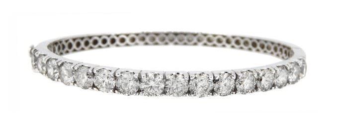 8.65ct Diamond Bangle Bracelet 18K White Gold