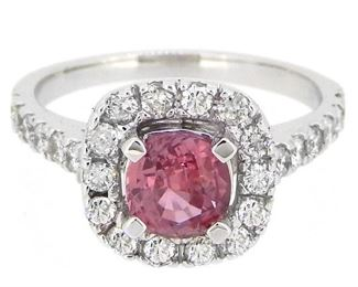 1.14ct Padparadscha Sapphire & 0.68ct Diamond Ring