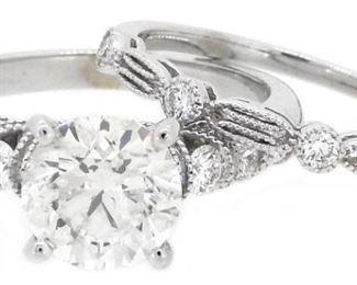 2.07ct Diamond Bridal Set Ring 14K White Gold