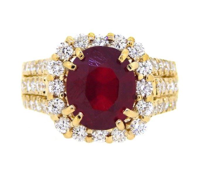 5.61ct Ruby & 1.64ct Diamond Ring