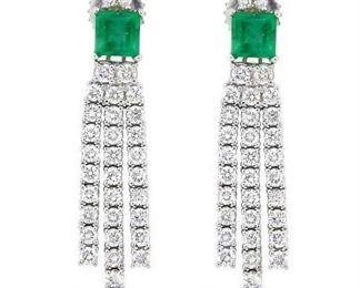 1.16ct Emerald & 2.46ct Diamond Earrings