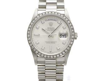Rolex Men's Platinum Presidential Model 18346 36MM with Diamond Bezel and Diamond Dial