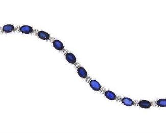 11.08ct Sapphire & 0.33ct Diamond Bracelet
