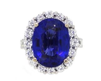 13.80ct Tanzanite & 2.10ct Diamond Ring