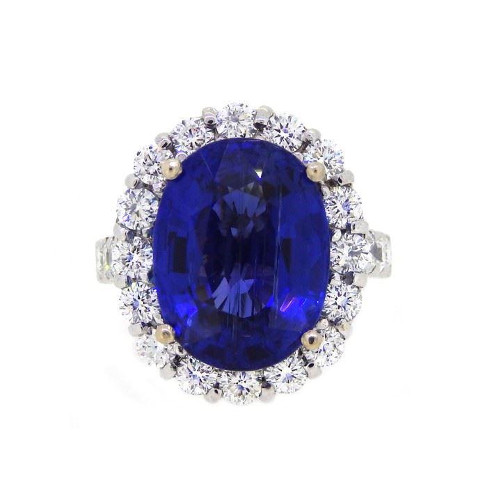 13.80ct Tanzanite & 2.10ct Diamond Ring