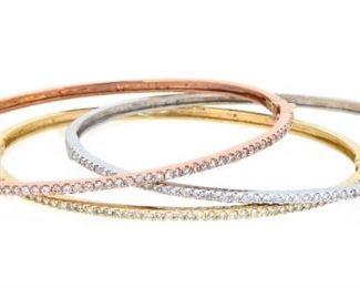 1.88ct Set of Three 14K Gold Diamond Bangle Bracelets
