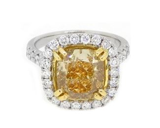 5.02ct Fancy Yellow & 5.96ct Diamond Ring