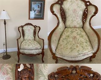 Antique Victorian Heavily Carved Upholstered Arm Chair