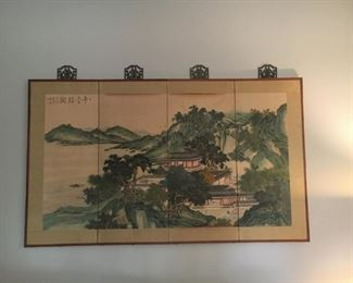 """Chinese painting on paper with silk framing, on wood.  Has some curled edge so needs restoration but colors are quite vivid and beautiful.  Measures 35""""x 56""""  $200  This may the the toughest thing I'm giving up in this downsizing."""