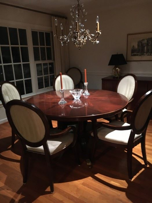 6 dining chairs. Clean velour upholstery, very comfortable for long dinners. Set is $450. Table is already sold to new owner.