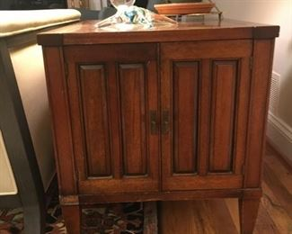 Mahogany cabinet, very deep, ideal for storage of odd sized items or a throw or two.  $50  Also for sale is a matching larger cabinet with one shelf that I use for storing music.
