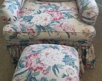 Vibrant chair with matching ottoman
