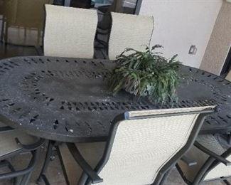 Metal Lanai table and six chairs
