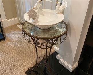 Mirrored Side table & Decorative Dove bowl