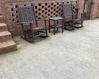 Polywood outdoor Rocking chairs (4) and tables (2)