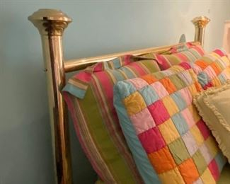 Brass Queen bed, Pine Cone hill bedding