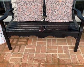 Outdoor bench, pillows