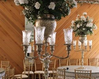 """#1 $250.00 each Silverplate centerpiece candelabra 40"""" X 25"""" with flowers in 60"""" (14 available)"""