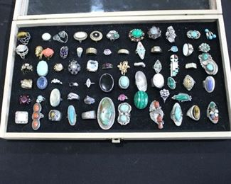 Rings! Navajo silver- signed! 14k gold, turquoise, diamonds, opals, coral, aquamarine, lapis and so much more!!!