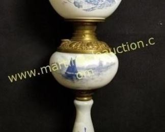 vintage gone with the wind Delft blue lamp