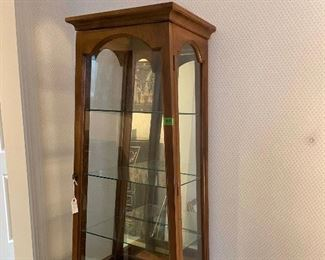 """50% off! was $425. Terrific Small Glass Display Cabinet; 67"""" tall x 28"""" wide at base"""