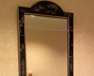 50% off! was $175. Chinoiserie Hall Mirror: part of a suite of Chinoiserie from this elegant estate, black lacquer, pristine - shown with matching low cabinet
