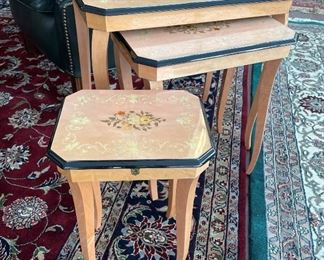 50% off! was $275. Set of Three Fine Italian Boudoir Nesting Tables, inlaid. Small one is a music box!
