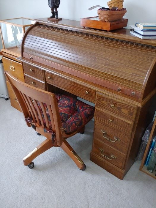 Lovely little roll top desk with chair
