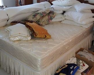 Great full size bed with like new mattress and foam topper