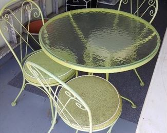 5 piece garden set--another chair is elsewhere--photos are as we set up
