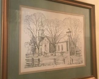 4 ea Framed Pencil Drawing Signed Charles Overly