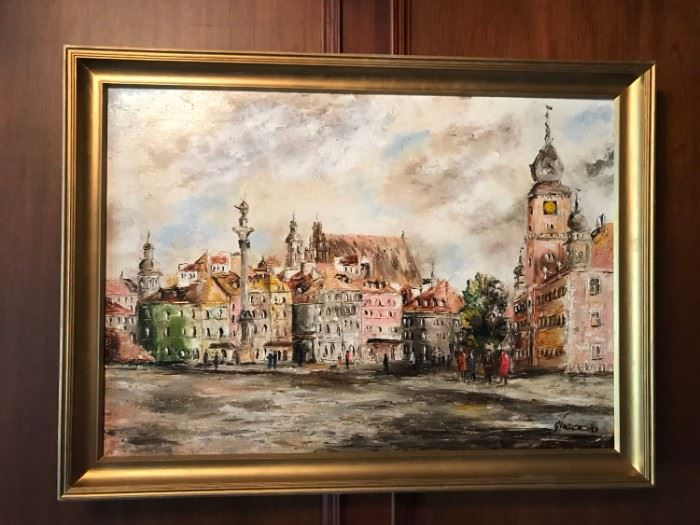 Signed Glazenski Oil on Canvas Town Square