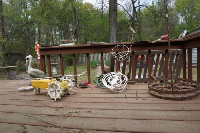 Yard ornaments, Neilson tractor lawn sprinkler, concrete pelican
