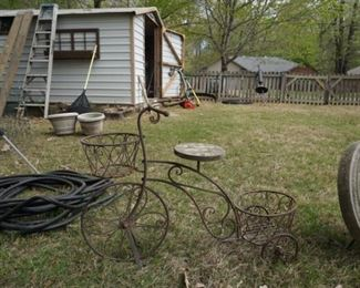 Wrought iron tricycle plant stand