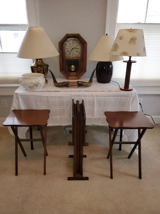 001 Bullhorns, Antique Chamber Pot, Clock, and Lighting
