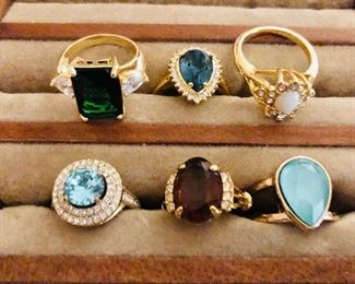 $20  each costume jewelry rings of various types