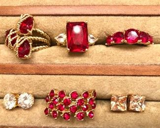 $20 each red stone and gold tone rings, stud earrings