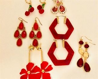 $6 each red funky earrings of all kinds Left red drop earrings SOLD