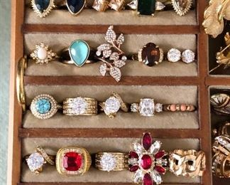 Overview of rings $20 each Gold ring right lower corner SOLD