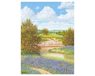 "Manuel Garza (b. 1940), Quiet River Bend, Oil on canvas, 16 x 12"", frame: 23.75 x 19.75"""