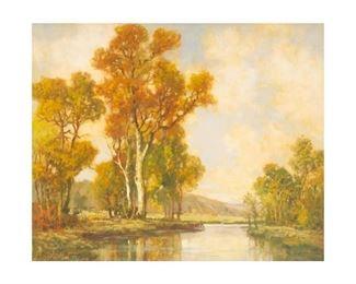 """A. D. Greer (1904-1998), Autumn Landscape, 1943, oil on canvas, 30 x 36"""", frame: 38.25 x 44"""""""