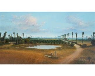 """Gabriel Salazar, Farm Pond, 1998, oil on canvas, 27.5 x 50.5"""", frame: 34.25 x 57.5"""""""
