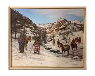 "Hubert Wackermann, Ute Scouting Party, 1990, oil on canvas, 22 x 30"", frame: 29.5 x 35.5"""