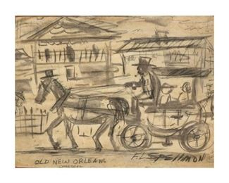 """Doc Spellmon (1925-2008), """"Old New Orleans"""", 1989, mixed media, image size: 10.25 x 13.25"""", frame: 14.25 x 18.5"""""""