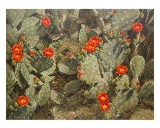 Helen Hunter (1920-2003), Blooming Cactus, 1985, oil on canvas, 36 x 48 in., frame: 48.75 x 60.75 in.