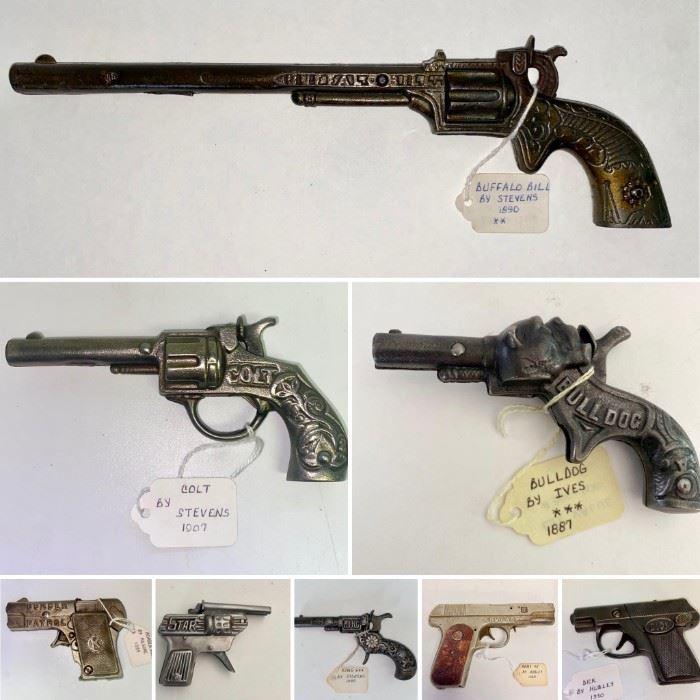 Rare Collection of Antique & Vintage Cast Iron Cap Guns: 1890 Stevens Buffalo Bill Long Barrell, 1907 Stevens Colt, 1887 Ives Bulldog, 1945 Hubley Arms, 1935 Kilgore Border Patrol, Star Tin Roll, 1880 Stevens King & More!