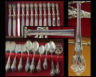 Sterling Silver Flatware Service for 12 Lunt Eloquence; with Additional Serving Pieces-62 Pcs in Total